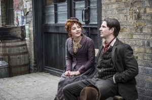 Programme Name: Ripper Street - TX: n/a - Episode: n/a (No. 3) - Embargoed for publication until: n/a - Picture Shows:  Evelyn Foley (CHARLIE MURPHY), DC Flight (DAMIEN MOLONY) - (C) Tiger Aspect - Photographer: steffan Hill