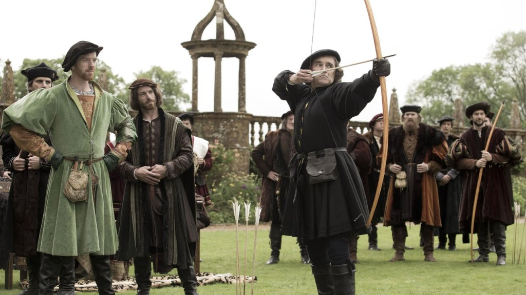 Mark Rylance as Thomas Cromwell challenges Henry VIII to an archery contest