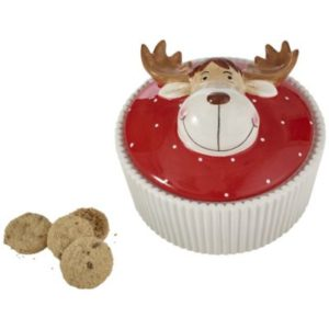 ceramic reindeer biscuit jar