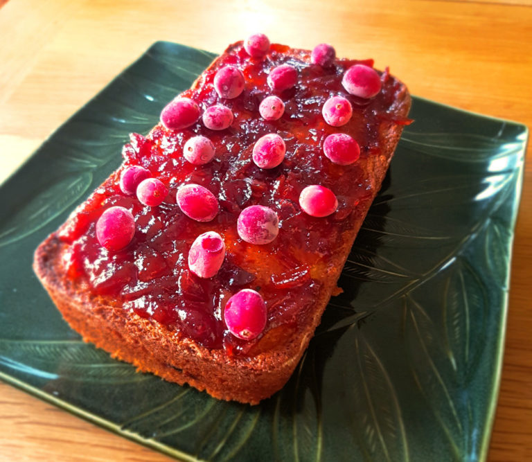 orange cranberry french yogurt cake