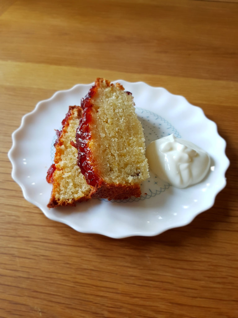 Slices of orange cranberry French Yogurt cake