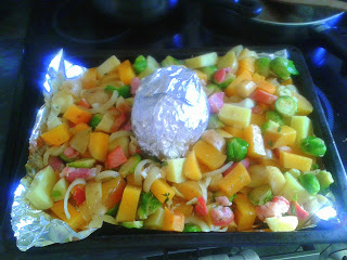 haggis with parsnips, potatoes, and vegetables