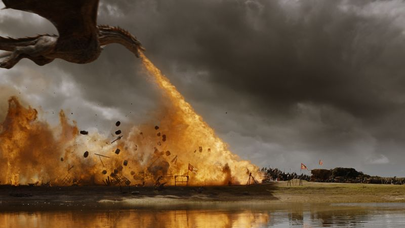 Dragon breathing fire in Game of Thrones